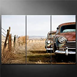 Canvas Print Wall Art Painting for Home Decor,vintage Cars Abandoned and Rusting Away in Rural Wyoming 3 Pieces Panel Paintings Modern Giclee Stretched and Framed Artwork the Picture for Living Room Decoration,car Pictures Photo Prints on Canvas