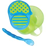 Sassy First Solids Feeding Bowl With Spoon, Blue & Green Color May Vary 1 Pk