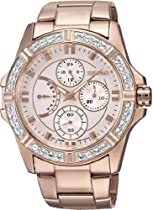Seiko Champagne Dial Rose Gold-tone Stainless Steel Crystal Trim Bezel Ladies Watch SRLZ94