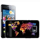 Fancy A Snuggle Paint Splash World Map Modern Art Design Hard Case Clip On Back Cover for Samsung Galaxy S2 i9100