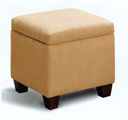 Microfiber Modern Cube Storage Footstool / Ottoman with Wood Legs