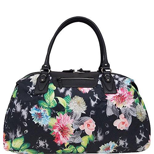 bueno-silky-nylon-travel-duffel-black-flowers