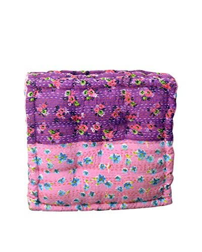 Small Chent Floral Print Floor Cushion, Pink/Purple