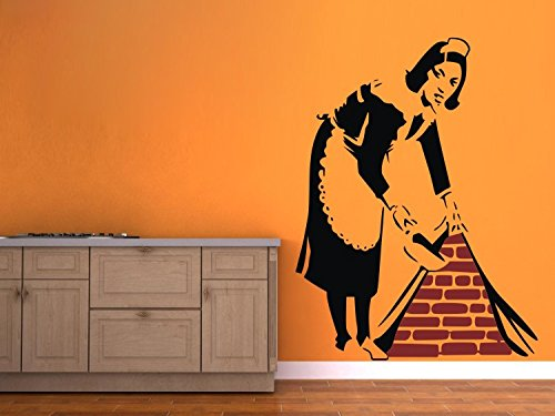 """Colorfulhall 29.5"""" X 39.4"""" Black Graffiti Street Art Canvas Banksy Maid In London Wall Decal Removable Vinyl Mural Art front-977473"""