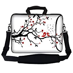 Meffort Inc 17 17.3 inch Neoprene Laptop Bag Sleeve with Extra Side Pocket Soft Carrying Handle & Removable Shoulder Strap for 16 to 17.3 Size Notebook Computer - Loving Bird Design