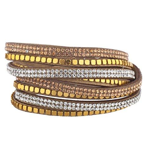 lux-accessoires-marron-ton-or-perle-champagne-bracelet-double-rangee-en-daim
