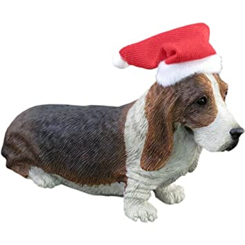 #!Cheap Sandicast Basset Hound with Santa Hat Christmas Ornament