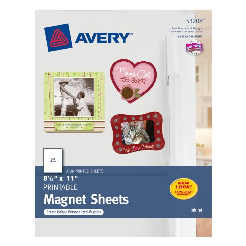 Avery Ink Jet Magnet Sheets, Matte White, 8-1/2-Inch By 11-Inch, Pack Of 3