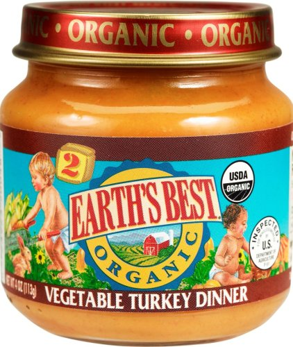 Earth's Best Organic 2nd Turkey Vegetable Dinner, 4 Ounce Jars (Pack of 12)