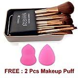 Cosmetic Makeup Brush Set - 12 Piece Set with Storage Box + FREE 2 Pcs Makeup Puff Sponge