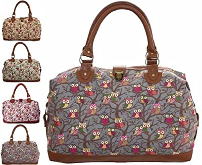 Ladies Womens Large Oversized Owls Animal Print Brown Grey Faux Leather and Canvas Handbag Weekend Maternity Overnight Bag