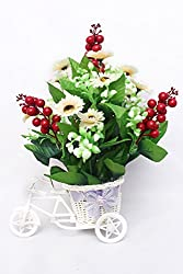 Home decor Great Indian Sale artificial flower with pot Multi flower fancy rickshaw best quality for home decoration and gifts