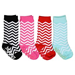 4-Pack juDanzy girls tall knee high socks Funky, Ballet, Mary Jane, Chevron for baby, toddler & girl (0-6 Months, Chevron)