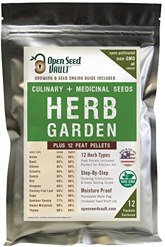 100-NON-GMO-Heirloom-Culinary-and-Medicial-Herb-Kit-12-popular-Easy-to-Grow-Herb-Seeds-by-Open-Seed-Vault-includes-12-seed-starting-peat-pellets