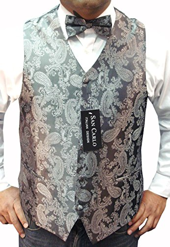 MEN'S QUALITY SILVER GREY PAISLEY WAISTCOAT &BOWTIE SET **SAME DAY POSTING**