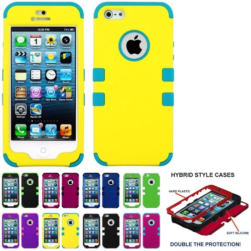 Mylife Teal And Bright Yellow - Classic Series (Neo Hypergrip Flex Gel) 3 Piece Case For Iphone 5/5S (5G) 5Th Generation Smartphone By Apple (External 2 Piece Fitted On Hard Rubberized Plates + Internal Soft Silicone Easy Grip Bumper Gel)
