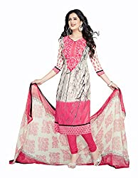 Varsha Women's Chiffon Unstitched Dress Material (Pink and Off-White)