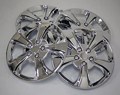 TuningPros WSC-616C15 Chrome Hubcaps Wheel Skin Cover 15-Inches Silver Set of 4