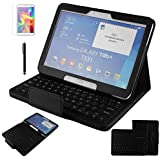 Contever® pour Samsung Galaxy Tab 4 10.1 pouces T530 Housse Étui Case Cover en Litchi grain Cuir PU Coque de protection avec fonction support avec Détachable (English QWERTY keyboard) Clavier Bluetooth--Noir