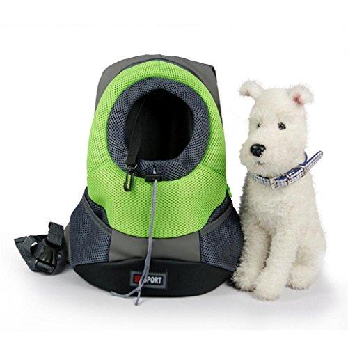 Tom Clovers Comfortable Polyester Dog Backpack Pet Carrier Cat Bag Backpack for Dog Outside Walking Medium Green