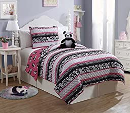 7 Pc, Panda, Bed in a Bag, Twin Size Bedding By Karalai Bedding Collection (twin)