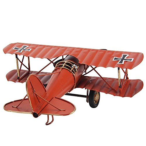 Berry President® Vintage / Retro Wrought Iron Aircraft Handicraft - Metal Biplane Plane Aircraft Models -The Best Choice for Photo Props/christmas Gift/home Decor/ornament/souvenir Study Room Desktop Decoration (Red)
