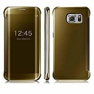 Sunny Fashion Premium Mirror Finish Flip Cover For Samsung Galaxy J7 (2016) - Gold