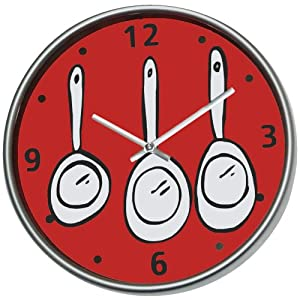 horloge pendule cuisine lunch time couverts bd rouge cuisine maison. Black Bedroom Furniture Sets. Home Design Ideas