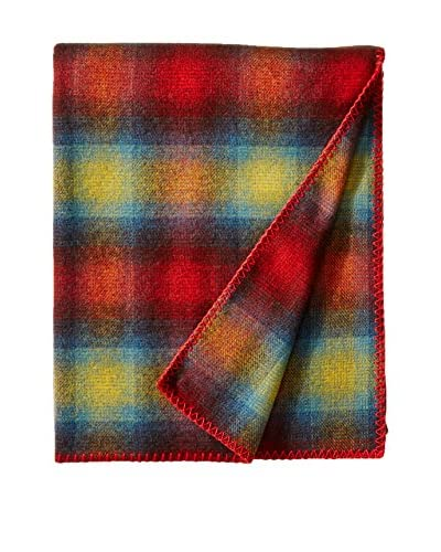 bambeco Classic Plaid Wool Throw, Burgundy
