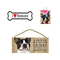 Boston Terrier Dog Lover Gift Bundle - Decorative Wall Sign \
