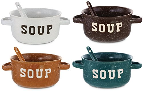 KOVOT Set of 4 Speckled Ceramic Soup Bowls With Spoons - 22-Ounces Each