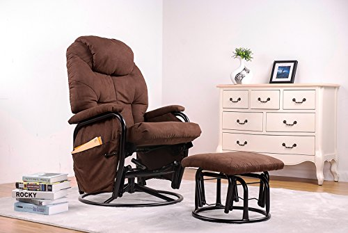 Merax 360° Swivel Fabric Recliner Glider Rocking Living Room Chair with Ottoman, Brown