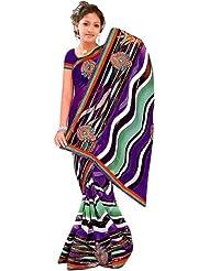 Exotic India Multi-Color Printed Leheria Sari With Embroidered Boo - Multi-Color