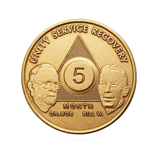 5 Month Bill & Bob Founders Edition Bronze AA (Alcoholics Anonymous) - Sober / Sobriety / Birthday - Anniversary Recovery Medallion / Coin / Chip by Generic