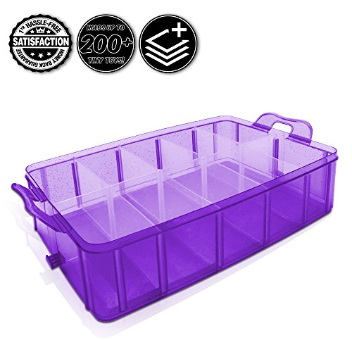 Tiny Toy Box Shopkins Storage Case Organizer Container Single Layer Tray Stackable Sparkle Collector's Carrying Tote Compatible W/ Happy Places Mini Toys Fashems Tsum Tsum Lego Hot Wheels (Purp Spark) (Marble Run Fridge compare prices)