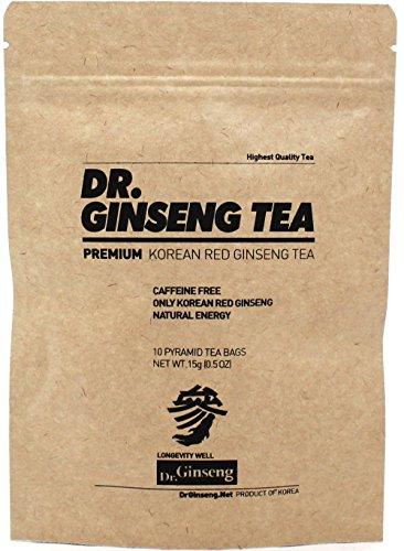 Dr. Ginseng - Premium Korean Red Ginseng Tea - All Day Energy - Reduce Stress - Promote Stamina - Metabolism Boost - Antioxidant Rich - No Caffeine - 10 Pyramid Tea Bags