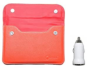 Chevron Pouch Case for Micromax Funbook P280 Tablet with USB Car Charger