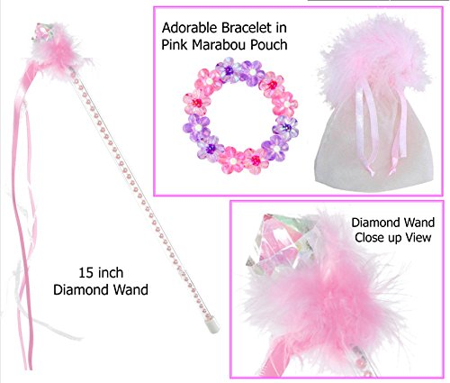 Diamond Wand with Pink Marabou Includes Pink & Purple Flower Bracelet - Princess Stocking Stuffers - 1