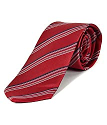 Greyon Red And Black With White Stripes Neck Tie (GNA038)