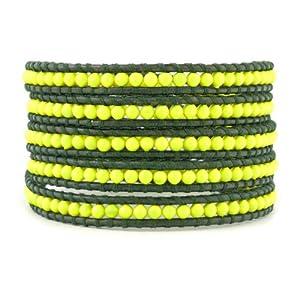Chan Luu Neon Yellow Wrap Bracelet on Dark Brown Leather