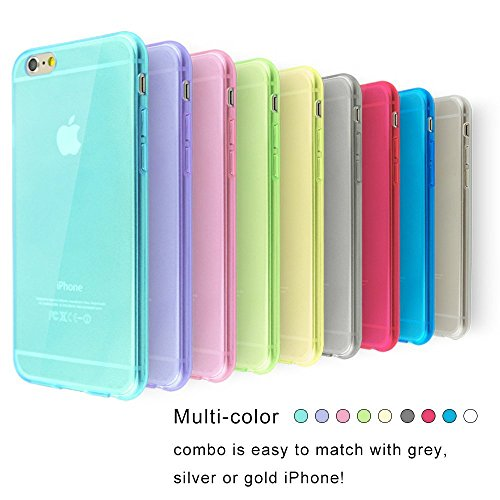 """iPhone 6 Case, 9 Pack Ace Teah [ Ultra - Thin ] Slim & Lightweight Protective Cover Bumper Shock Absorbing TPU Case for iPhone 6 (4.7"""") - Black, White, Cyan, Red, Yellow, Green, Blue, Plum, Purple"""