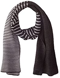 Calvin Klein Men\'s Ombre Stripe Jersey Muffler, Black/Charcoal/Soft Grey, One Size