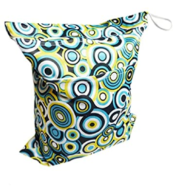 Print Baby Cloth Diaper Waterproof Zippered Wet/Dry Bags, Circle Print