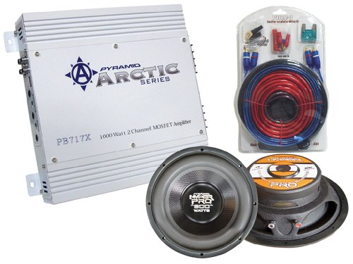 """Pyramid Super Amplifier/Speaker Package For Car/Truck/Suv --- Pb717X 1000W 2 Channel Bridgeable Mosfet Amplifier + """"Two"""" Pw1086X 10-Inch High Power 800W Subwoofers + 1000W 20 Ft. Amplifier Installation Wiring Kit"""