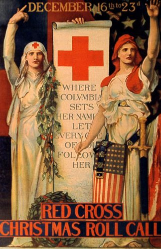 RED CROSS CHRISTMAS ROLL CALL WAR SMALL VINTAGE POSTER CANVAS REPRO