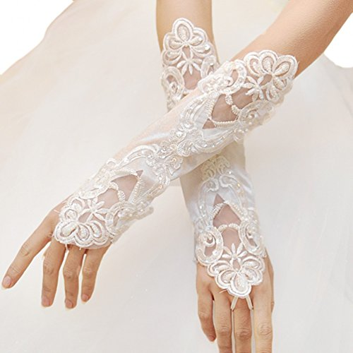 Beilite Lace Satin Fingerless Rhinestone Bridal Gloves for Wedding Party