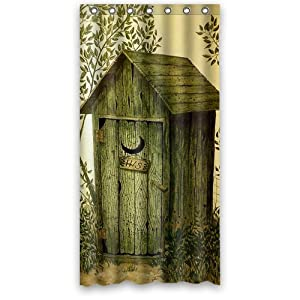 outhouse custom 36 x 72 shower curtain 7 holes to which rings attach shower. Black Bedroom Furniture Sets. Home Design Ideas