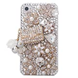 Minisdesign Grandeur Series iPhone 4/4S 3d Bling Luxury Crystal Rhinestone Coco Bag Design Diamond Case, Cover for the New Apple iPhone 4/4S (Package includes: 1 X Screen Protector and Extra Rhinestones)