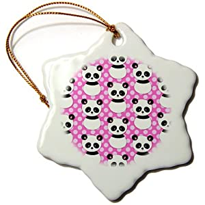 3dRose orn_26434_1 Cute Panda Bear with Hot Pink Polka Dots-Snowflake Ornament, Porcelain, 3-Inch