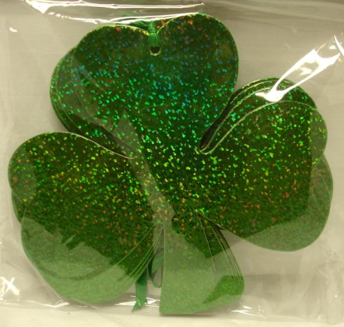 St. Patricks Day Green Shamrock Cardboard Ornaments for Craft or Decoration (30 pieces, 5 1/2